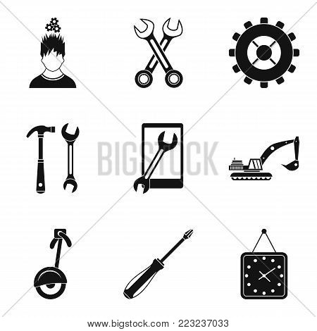 Pinion icons set. Simple set of 9 pinion vector icons for web isolated on white background