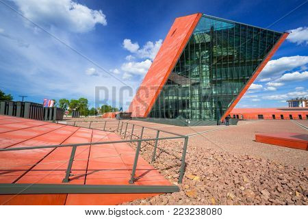 GDANSK, POLAND - JUNE 5, 2017: Museum of the Second World War in Gdansk, Poland. The Museum main exhibition covering an area of about 5,000 square metres.