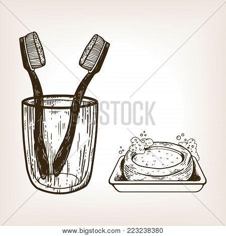 Toothbrushes in glass and soap engraving vector illustration. Brown aged background. Scratch board style imitation. Hand drawn image.