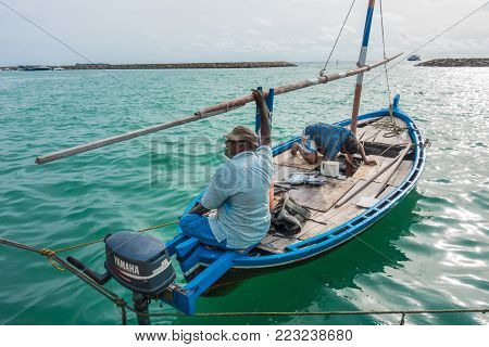 Maafushi, Maldives - June 12, 2017: The Fishermen At Work From The Early Morning Everyday They Go To