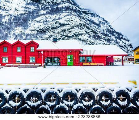 Flam, Norway - December 28, 2014: Station old Flam Railway. The Flam Line (Norwegian: Flamsbana) is a 20.2-kilometer long railway line between Myrdal and Flåm in Aurland, Norway.