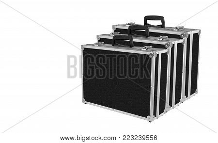 Construction, repair, tools - Three Grey black box case for tools on white background.