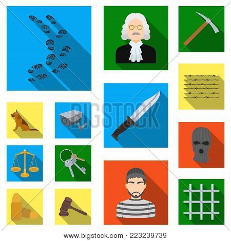 Prison and the criminal flat icons in set collection for design.Prison and Attributes vector symbol stock illustration.