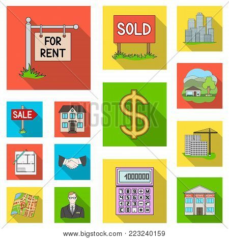 Realtor, agency flat icons in set collection for design. Buying and selling real estate vector symbol stock  illustration.