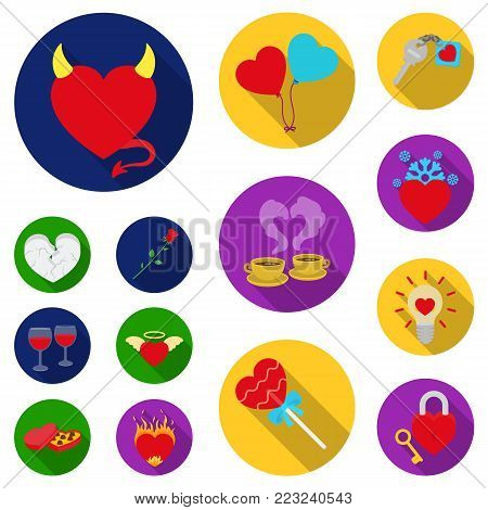 Romantic relationship flat icons in set collection for design. Love and friendship vector symbol stock  illustration.