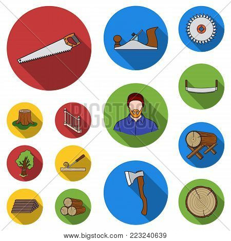 Sawmill and Timber flat icons in set collection for design. Hardware and Tools vector symbol stock  illustration.