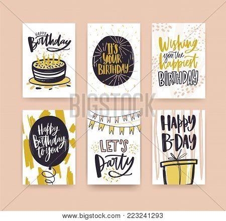 Collection of birthday greeting card templates decorated with handwritten wishes and festive elements - gift, cake with candles, balloon, confetti, flag garlands. Hand drawn vector illustration