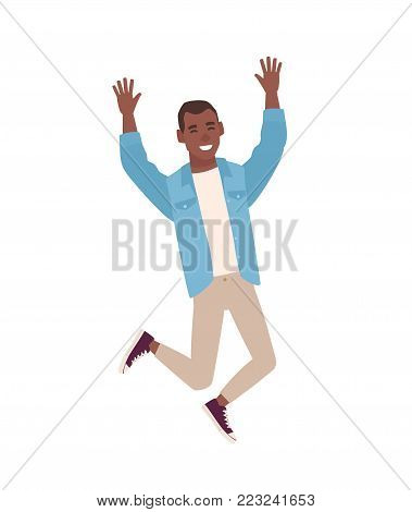 Happy smiling guy dressed in casual clothes jumping with raised hands. Young man rejoicing or celebrating. Male cartoon character isolated on white background. Colorful flat vector illustration