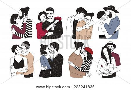 Collection of romantic couples isolated on white background. Set of portraits of men and women in love hugging, cuddling and kissing. Hand drawn vector illustration for Valentine s day greeting card