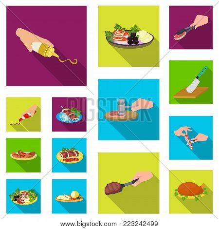 Cooking food flat icons in set collection for design. Kitchen, equipment and tools vector symbol stock  illustration.