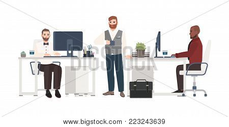 Men dressed in business clothes working at office. Male cartoon characters standing, drinking coffee and sitting at desks with computers. Clerks at workplace. Vector illustration in flat style.