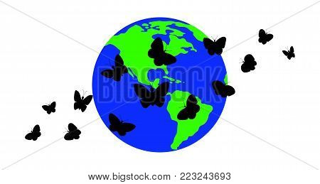 Silhouettes of butterflies against the background of the planet Earth.