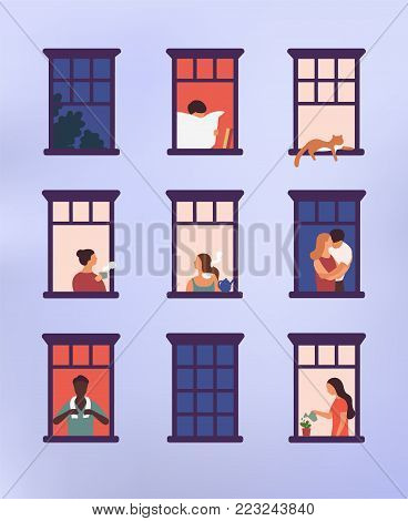 Windows with neighbors doing daily things in their apartments - drinking tea, talking, watering potted plant, hugging or cuddling, reading newspaper. Colorful vector illustration in modern flat style
