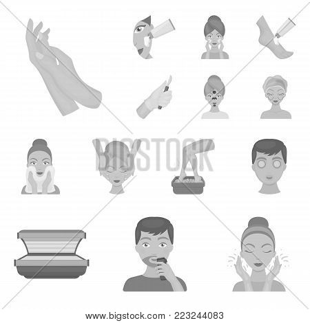 Skin care monochrome icons in set collection for design. Face and body vector symbol stock  illustration.