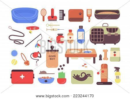 Collection of pet shop goods for cats and dogs isolated on white background. Set of items for domestic animals care, treatment, grooming, entertainment, feeding. Colorful flat vector illustration