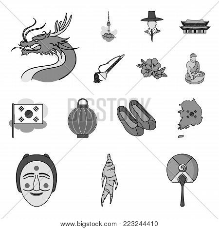 Country South Korea monochrome icons in set collection for design.Travel and attraction vector symbol stock  illustration.