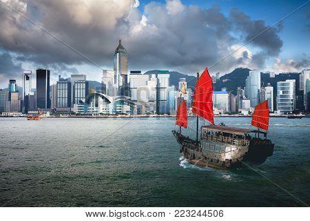 Duk Ling Ride, Hong Kong harbour with tourist junk, Hong Kong China