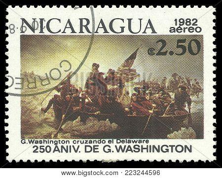 Nicaragua - circa 1982: Stamp printed by Nicaragua, Color edition on 250th Aniversary of George Washington, shows Crossing the Delaware, circa 1982