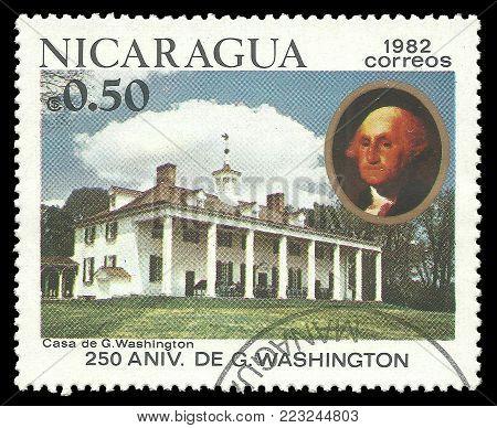 Nicaragua - circa 1982: Stamp printed by Nicaragua, Color edition on 250th Aniversary of George Washington, shows Mount Vernon, circa 1982