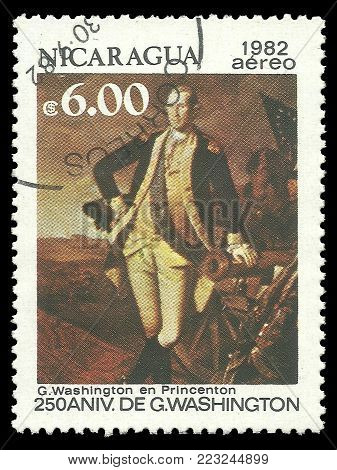 Nicaragua - circa 1982: Stamp printed by Nicaragua, Color edition on 250th Aniversary of George Washington, shows Washington in Princeton, circa 1982