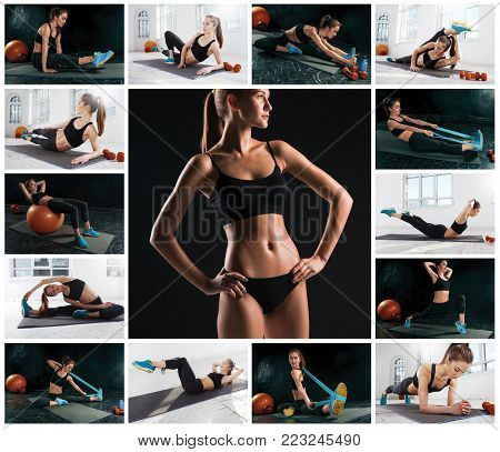 The collage from images of beautiful slim woman doing some gymnastics at the gym. Fitness, stretching, pilates concepts