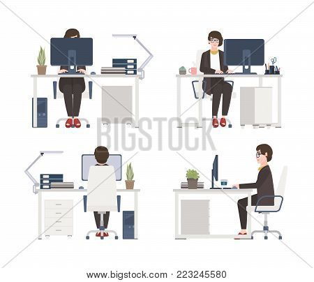 Woman working on computer. Female office worker, secretary or assistant sitting in chair at desk. Flat cartoon character isolated on white background. Front, side and back views. Vector illustration