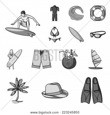 Surfing and extreme monochrome icons in set collection for design. Surfer and accessories vector symbol stock  illustration.