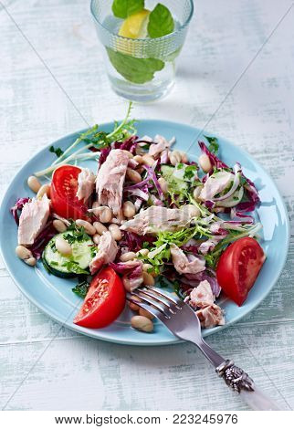 Tuna salad with endive, radicchio and white beans