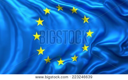 Flag of European Union blowing in the wind. 3D illustration