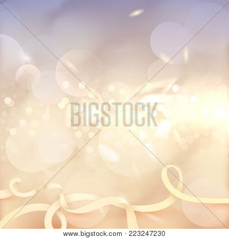 Bokeh effect background. Many lights. Abstract Golden Bright backdrop. Blurred defocused sparkles. Glow design. Lens Flare tender wallpaper. Highlight beam. Glare, Blur, flicker and glow.