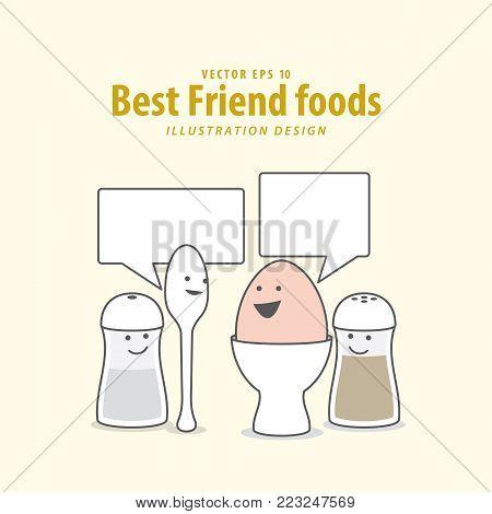 Cartoon Character Of  Boiled Egg, Spoon, Pepper Bottle & Salt Bottle Illustration Vector On Pale Yel