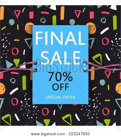 Vector final sale poster. Cute discount card. Seasonal sales banner design. Sell-out, clearance, closeout. Advertising template. Colorful promo illustration. Bright coupon.