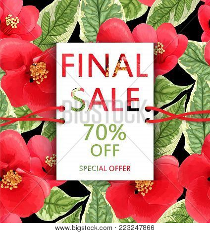 Vector  sale flyer with tropical flowers and leaves. Botanical exotic design. Floral banner. Discount card. Sell-out, clearance, offer, closeout. Advertising template. Colorful promo illustration.