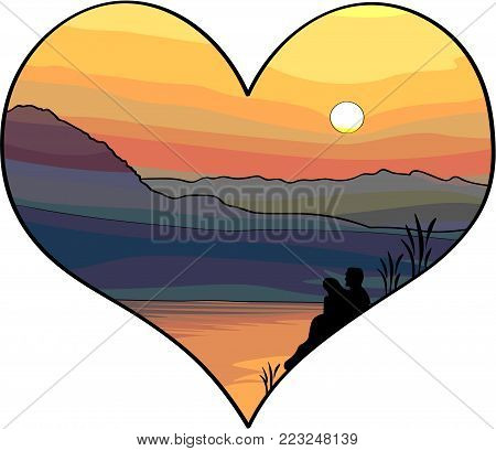 Vector Illustration - Concept of Love, Couple in love looking to the sunset over the mountains and sea, picture in hearth shape