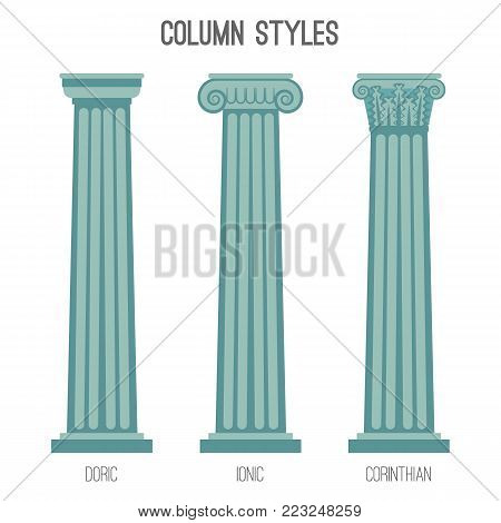 Ancient tall column styles. Plain doric, ionic with rounded parts on top and corinthian with complicated pattern isolated cartoon flat vector illustrations set.