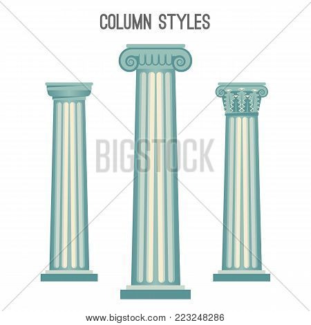 Column styles set from elegant ancient architecture traditions. Plain pillar and with unusual patterns on top part isolated cartoon flat vector illustrations.