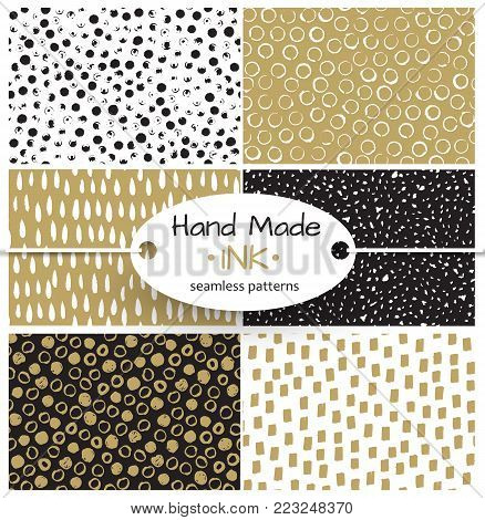 Set of vector seamless pattern. Doodle background, Hand drawn texture. Dry brush ink art. Colorful design. Stylish print. Repeat abstract elements. Sketch style. Black and gold.