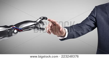 Human hand touching robotic hand. Over gray background. 3d rendering.