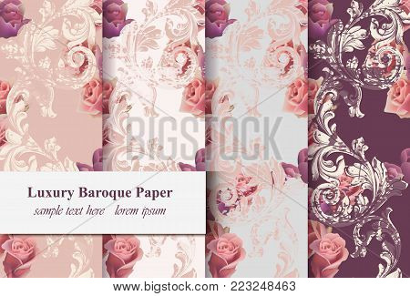 Vintage rose flowers and baroque ornament pattern set Vector. Grunge old paper texture background