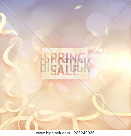 Spring sale tender design. Bokeh effect poster. Seasonal discount banner design. Sell-out, clearance, closeout. Advertising template. Elegant promo illustration. Fashion sales.