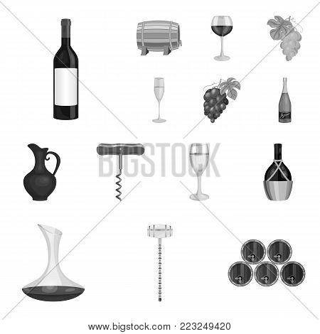 Wine products monochrome icons in set collection for design. Equipment and production of wine vector symbol stock  illustration.