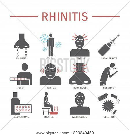 Rhinitis. Symptoms, Treatment. Flat icons set. Vector signs for web graphics
