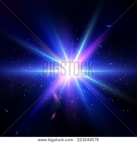Glow light effect. Star burst with sparkles. Lens Flare wallpaper. Abstract Space background. Flash Highlight beam. Glare, shiny, flicker and luminescence. Fantastic design. Futuristic illustration