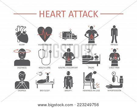 Heart Attack. Symptoms. Flat icons set. Vector signs for web graphics.