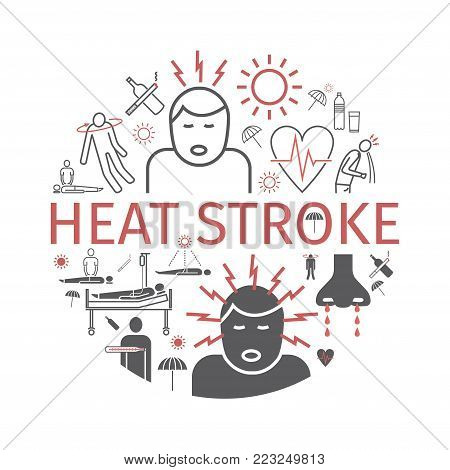 Heat stroke banner. Line icons set. Vector signs for web graphics.