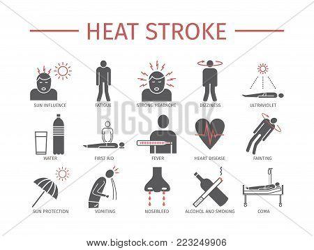 Heart Attack. Symptoms, Treatment. Flat icons set Vector signs