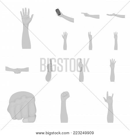 Gestures and their meaning monochrome icons in set collection for design.Emotional part of communication vector symbol stock  illustration.