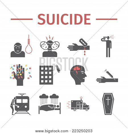 Suicide flat icons infographic. Vector signs for web graphics