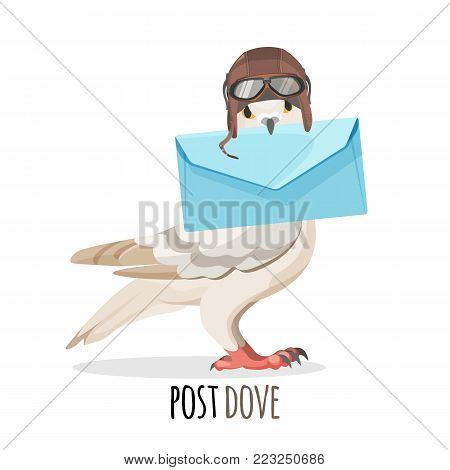 Post dove in vintage pilot helmet and glasses holds blue paper envelope isolated cartoon vector illustration on white background. Bird that deliver messages.