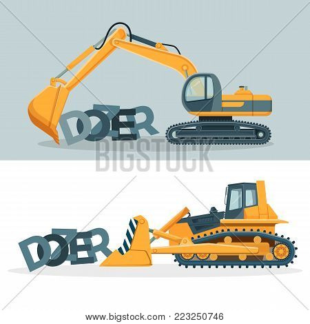 Dozers creative promotional posters with huge powerful machines with caterpillar wheels and mechanical ladle isolated cartoon flat vector illustrations set.